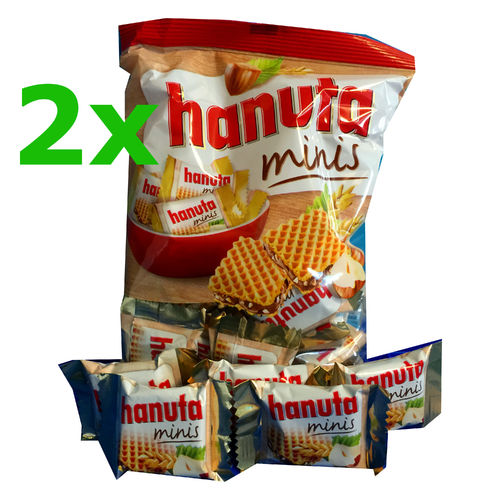 2x Ferrero Hanuta Mini hazelnut wafers bag - 200 g / 7 oz - made in Germany